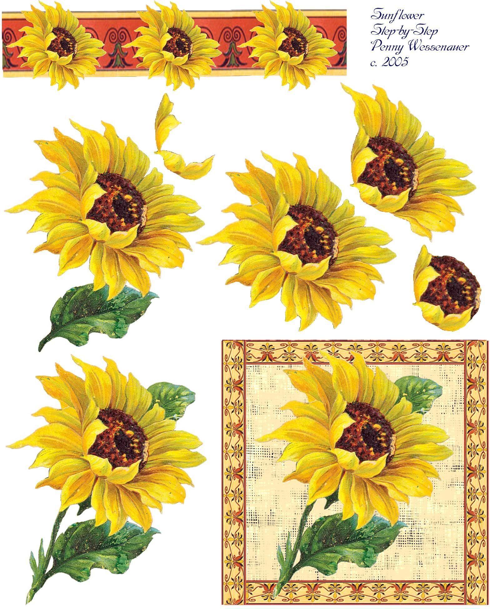 Sunflower Decoupage Printables Decoupage Vintage Art Deco Cards