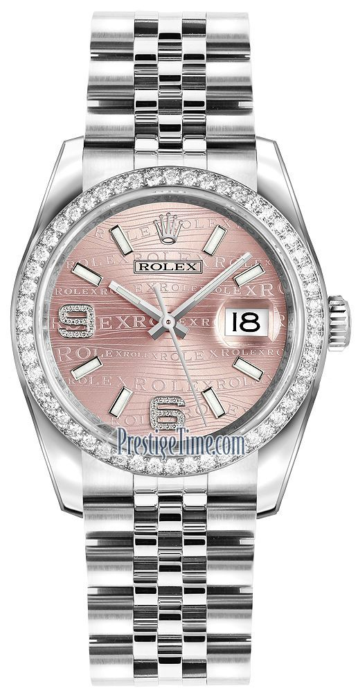 Rolex Datejust 36mm Stainless Steel 116244 Pink Wave Jubilee #stainlesssteelrolex