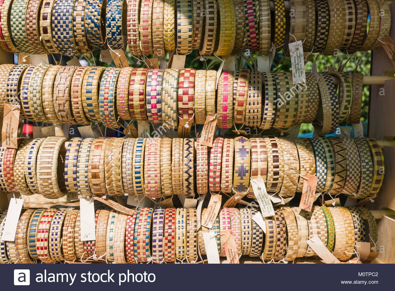 Download this stock image handmade lauhala bracelets for