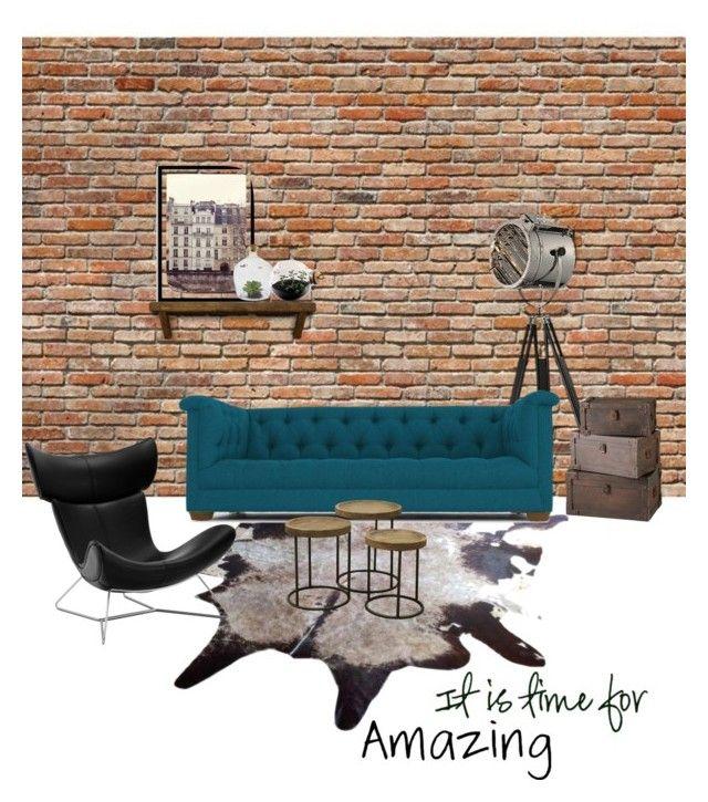 """Sin título #2"" by melcer on Polyvore featuring interior, interiors, interior design, hogar, home decor, interior decorating, WallPops, Dimond, Joybird Furniture y Brucs"