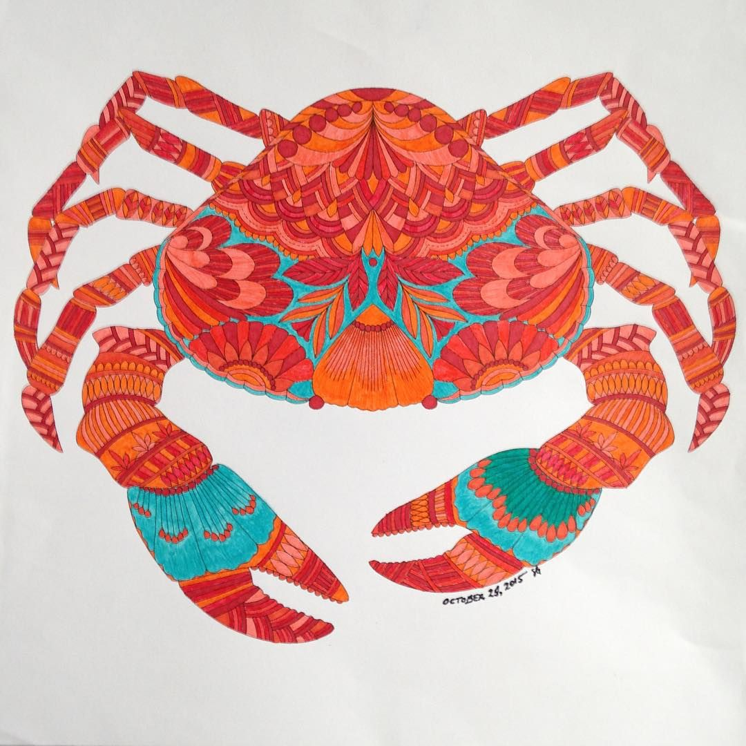 Mr. Crab I did with just markers adultcolouring