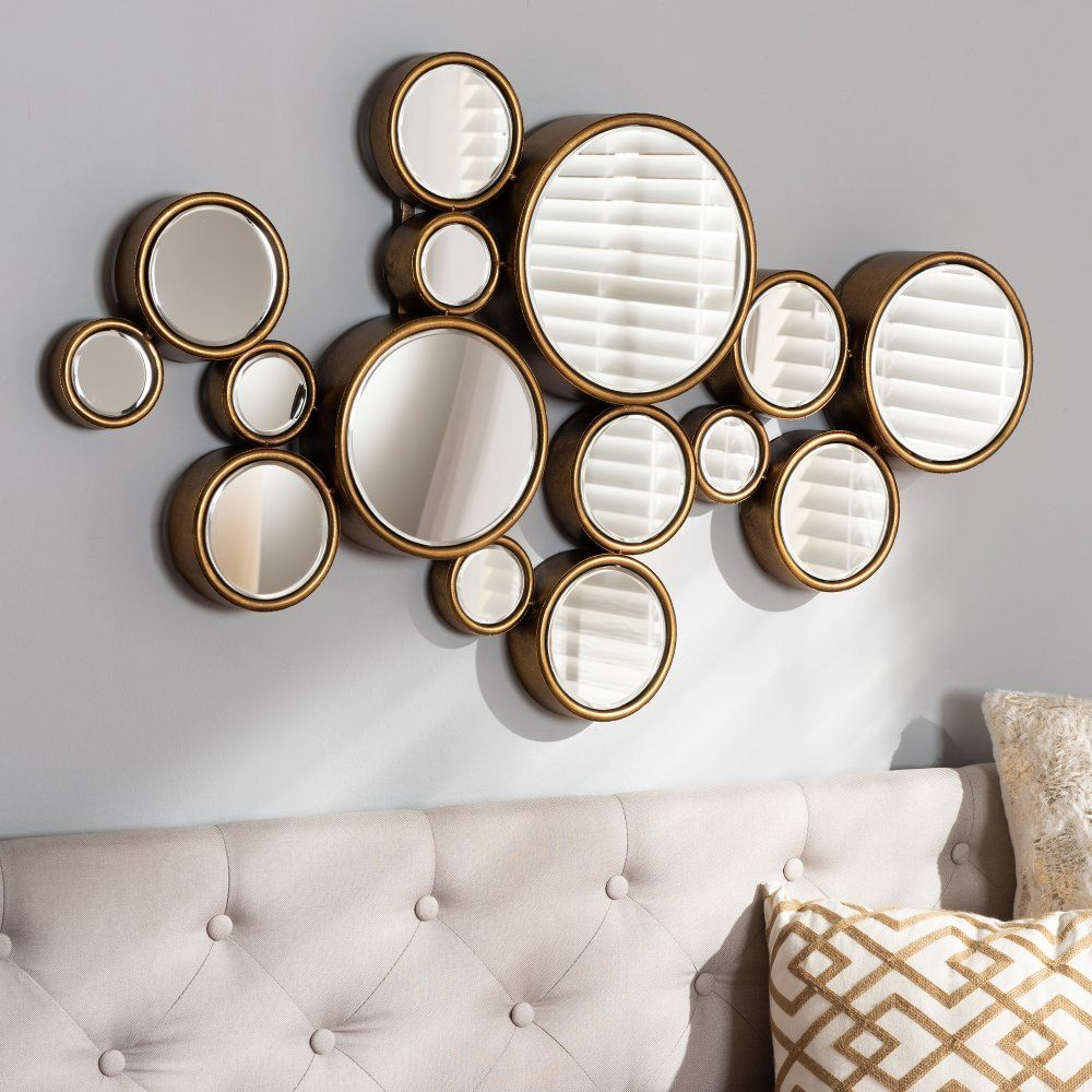 Contemporary Gold Bubble Accent Wall Mirror Floretta In 2020 Gold Mirror Wall Mirror Wall Mirror Design Wall
