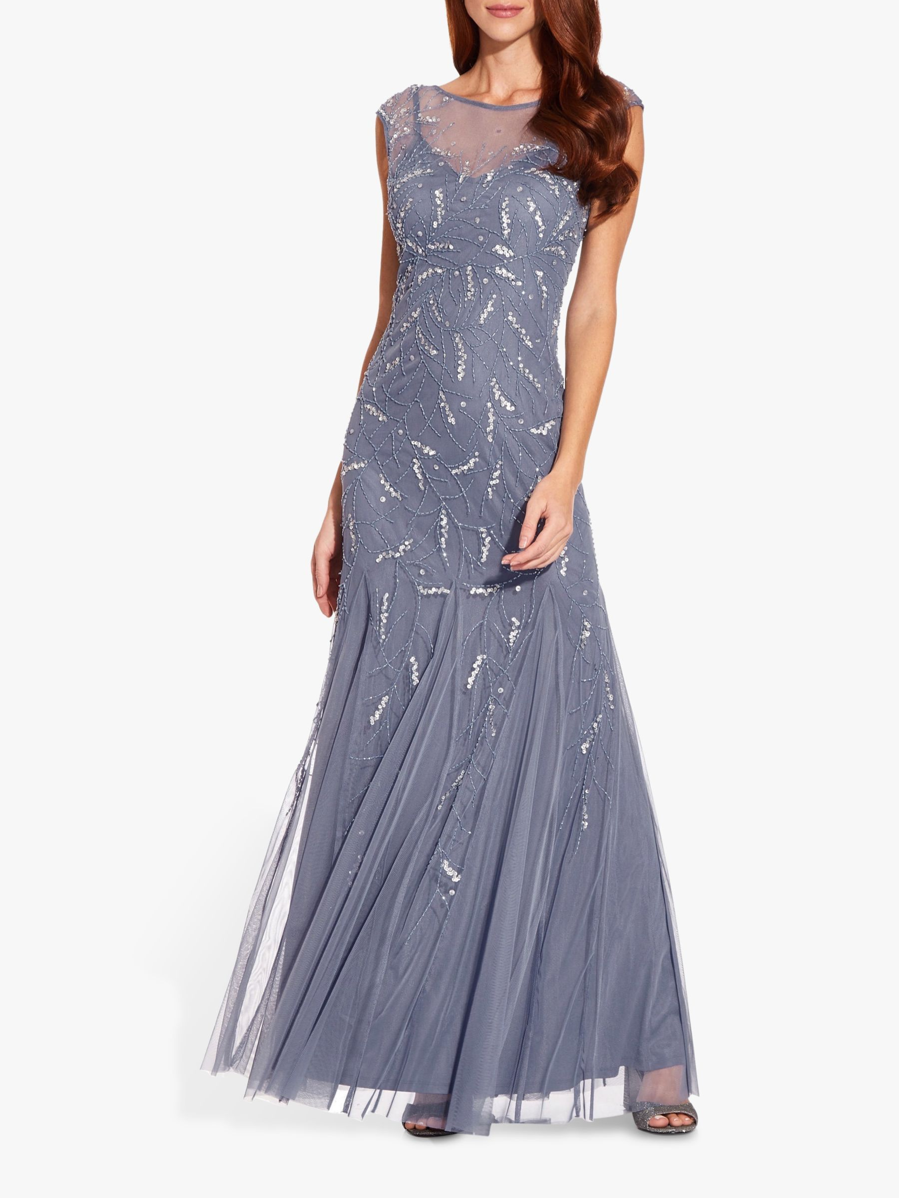 Aidan Mattox Popover Sequin Bodice Sleeveless Formal Evening Gown Dress