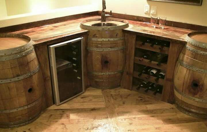 Wine Barrel Bar And Built In Basin Cool Shit In 2019
