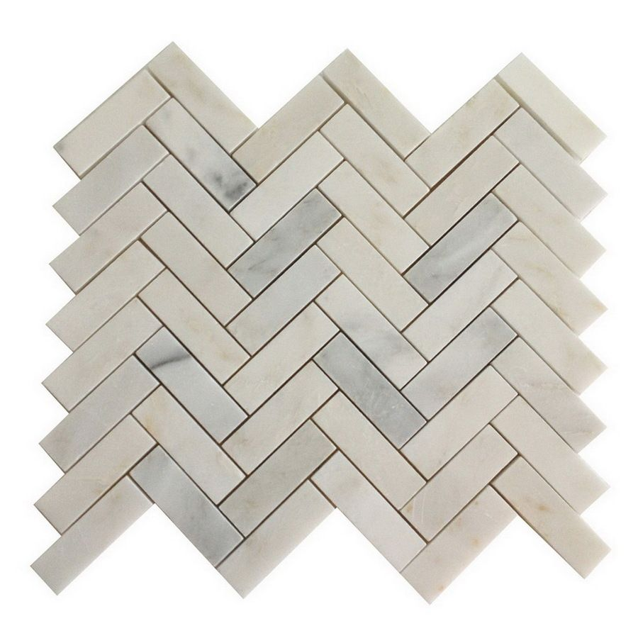 Shop allen roth white marble natural stone mosaic indooroutdoor shop allen roth white marble natural stone mosaic indooroutdoor floor tile common dailygadgetfo Gallery