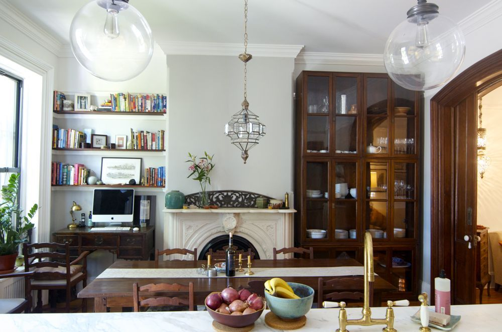 And Niches Have Been Found For Bookshelves Desk Not To Mention Antique Chinese Bookcase Masquerading As Kitchen Cabinets Home Decor Eclectic Kitchen Kitchen Seating Area