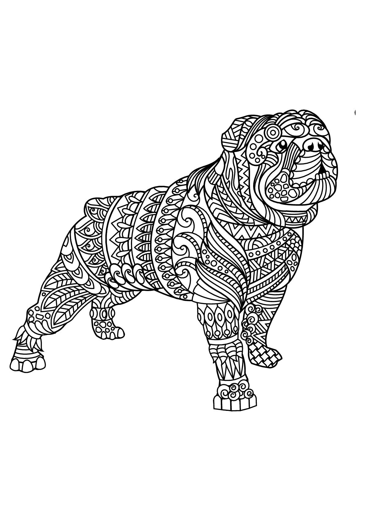 Free book bulldog 2 Dogs Coloring Pages for Adults
