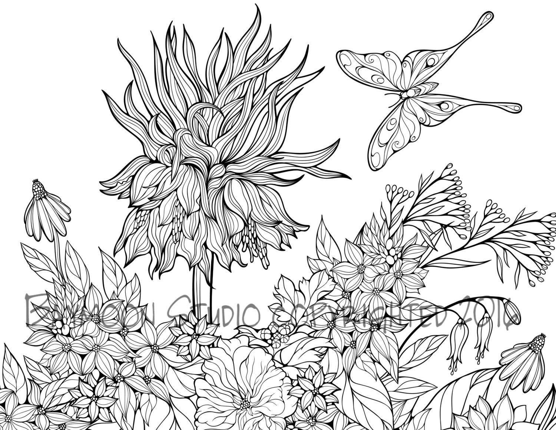 Jardín de mariposas para colorear página páginas por BAYMOONSTUDIO ...