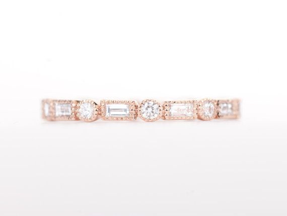 ZERTIFIZIERT  E-F VVS-VS-Baguette & Runde Diamanten von SundariGems