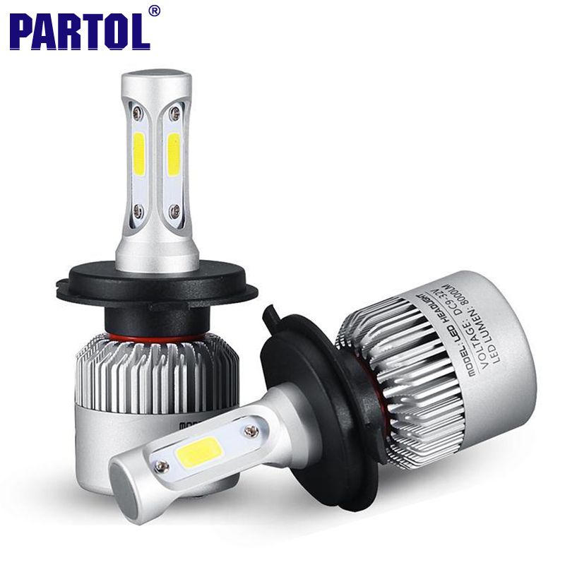 2x Plug Play H4 Cob Led Headlight 72w 8000lm Hi Lo Beam Car Led Headlights Bulb Head Lamp Fog Light 12v Auto Accessories Parts Led Lampadina Auto