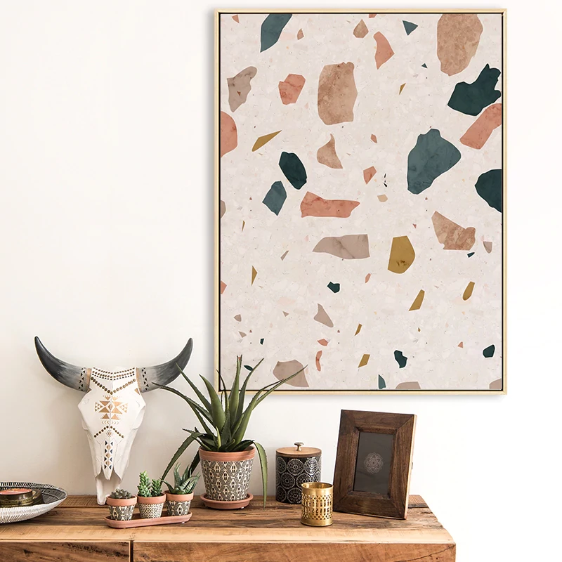 Abstract Terrazzo Wall Art Subtle Rustic Hues Fine Art Canvas Prints Nordic Style Nordicwallart Com Colorful Wall Art Interior Wall Decor Wall Art Pictures