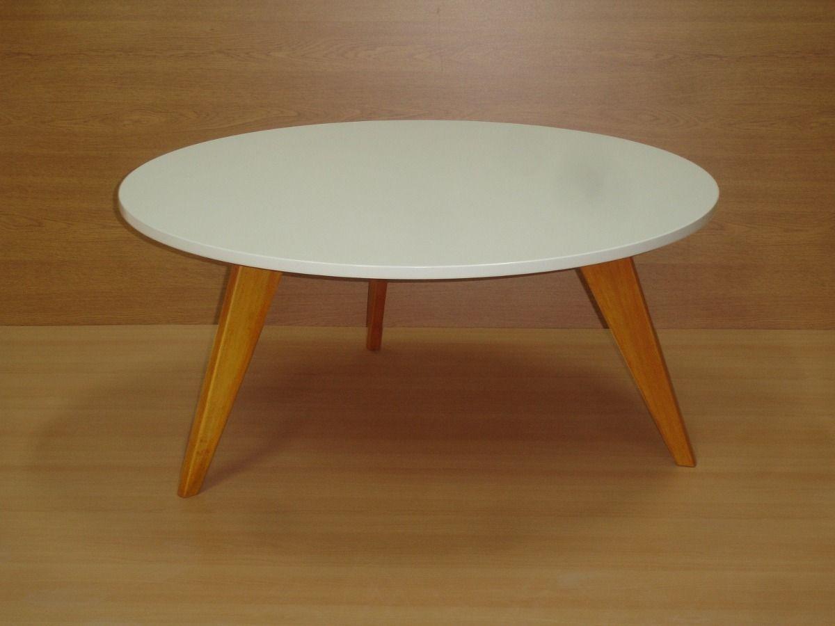 Mesa ratona retro vintage nordica laca blanca redonda madera en mercadolibre - Mesa blanca y madera ...