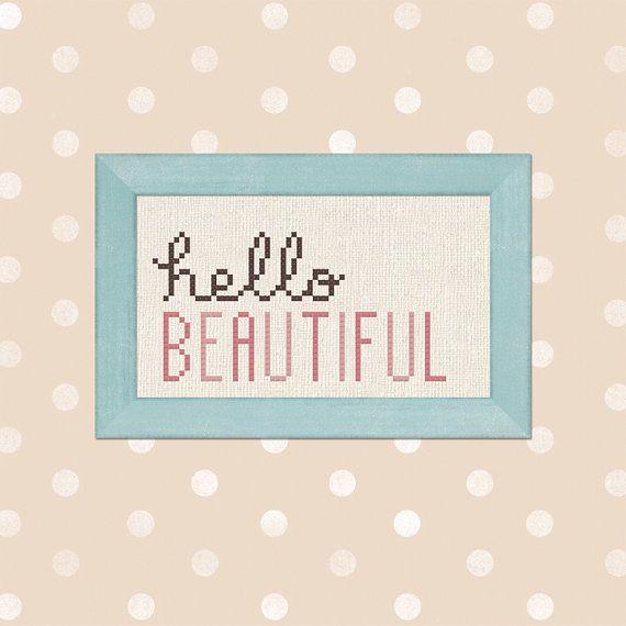 Hello Beautiful. Text Cross Stitch PDF Pattern by andwabisabi