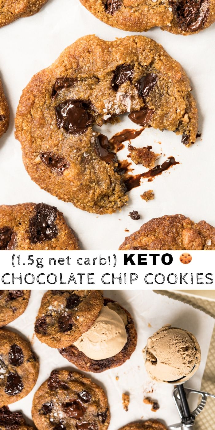 (1.5g net carb!) Gluten Free & Keto Chocolate Chip Cookies