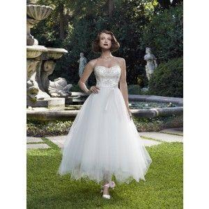 Beautiful shorter wedding dress.
