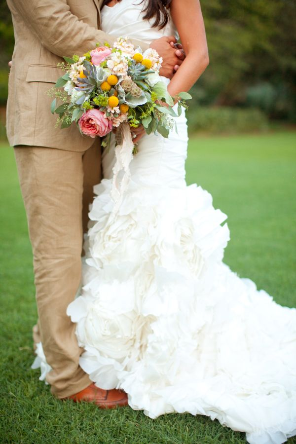 Southern weddings - pink and yellow bouquet