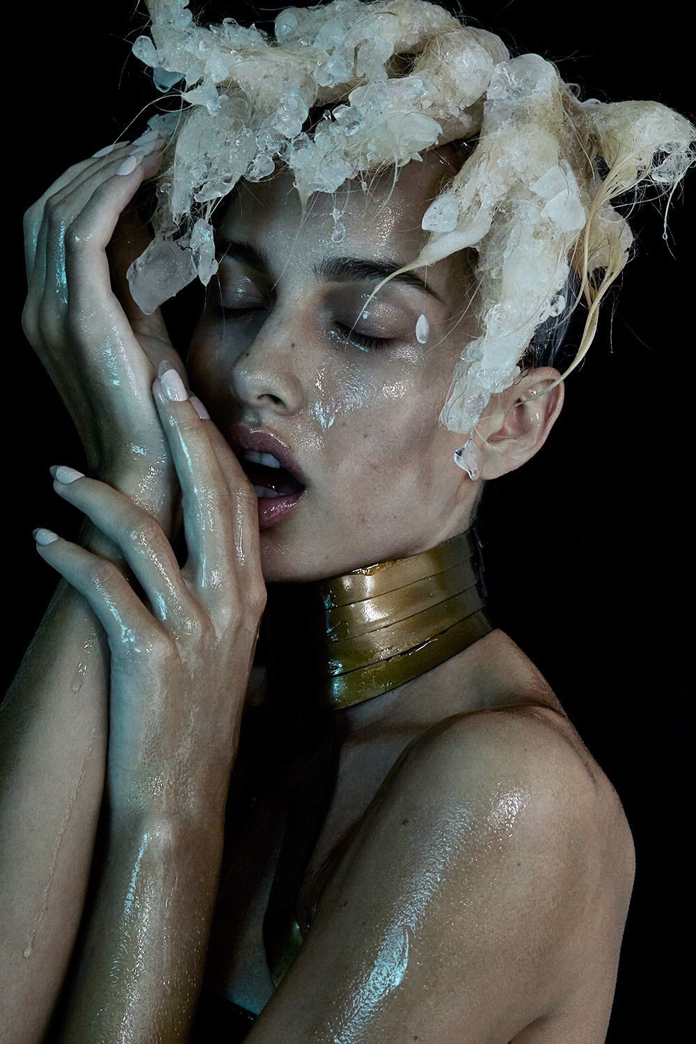 Glitter Face Neon Colored Powder Gold Leaf Textured Edgy Editorial Creative Makeup Iceicle Hair Beauty Editorial with model Cris Stamboroski