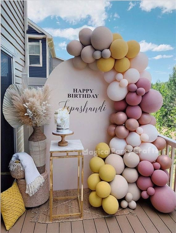 101pcs Double Cream Peach Apricot Ginger Balloons