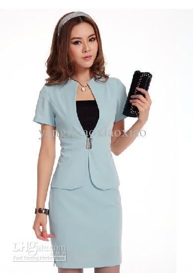 d8039cb1a70 2012 Women Suit Business Wear Casual Fashion Sexy Suit Career Suits Ladies  Skirt White Black Blue