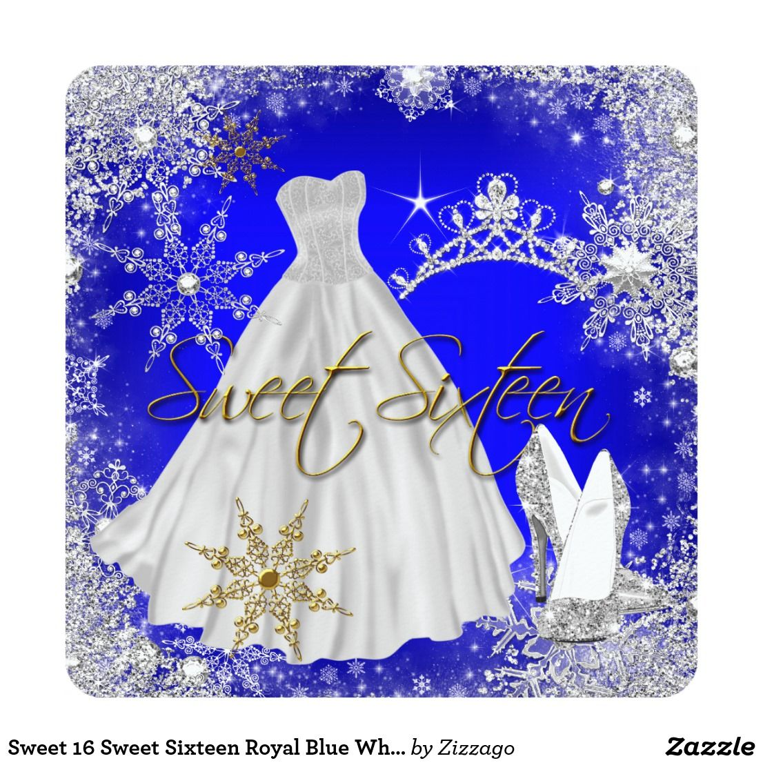 sweet 16 sweet sixteen royal blue white snowflakes invitation in