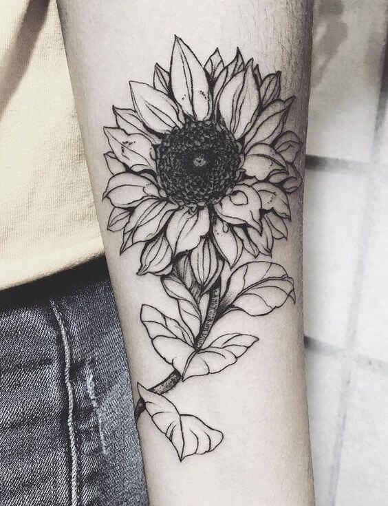 2bd45d1b080 This is one of those sunflower tattoos that appeals to you