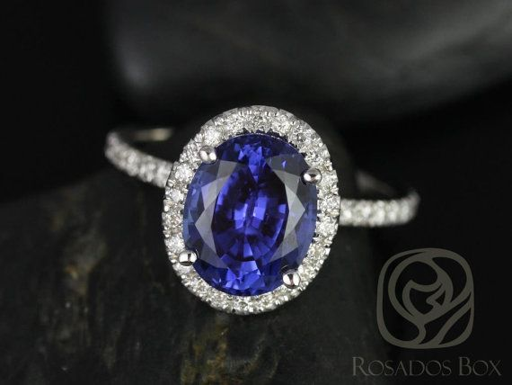 Chantelle 10x8mm 14kt White Gold Oval Blue Sapphire and Diamond Halo Engagement Ring (Other metals and stone options available)