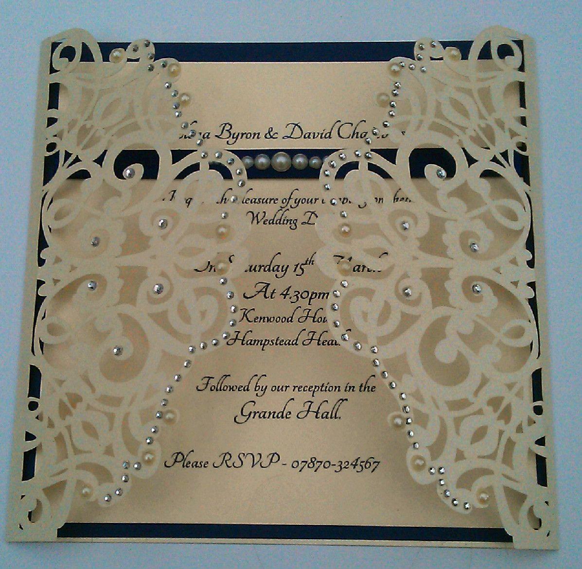 Elegant Navy & Ivory wedding invitation