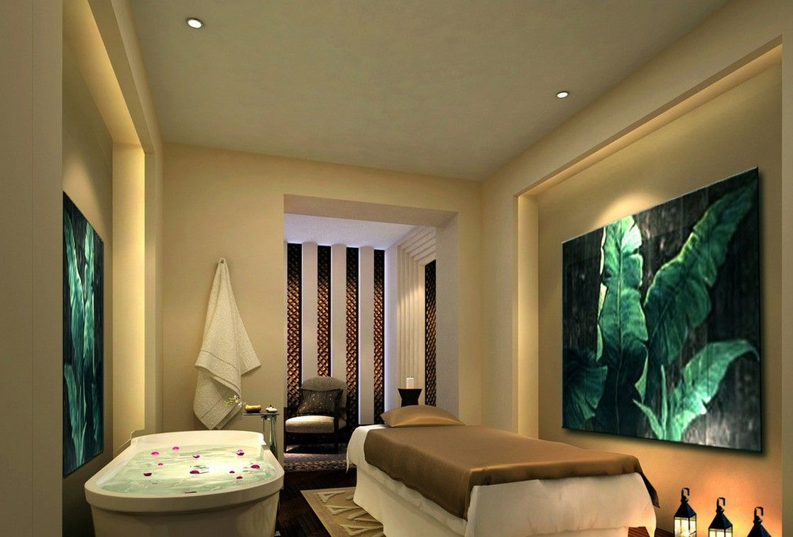 Spa room interior decoration - Mahjong Parlors Interior Design European Style Spa Room With Bathtub And Massage Bed