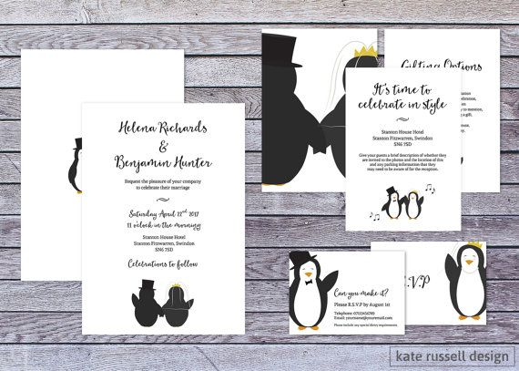 Wedding Invitations Penguin Theme By Katerusselldesign On