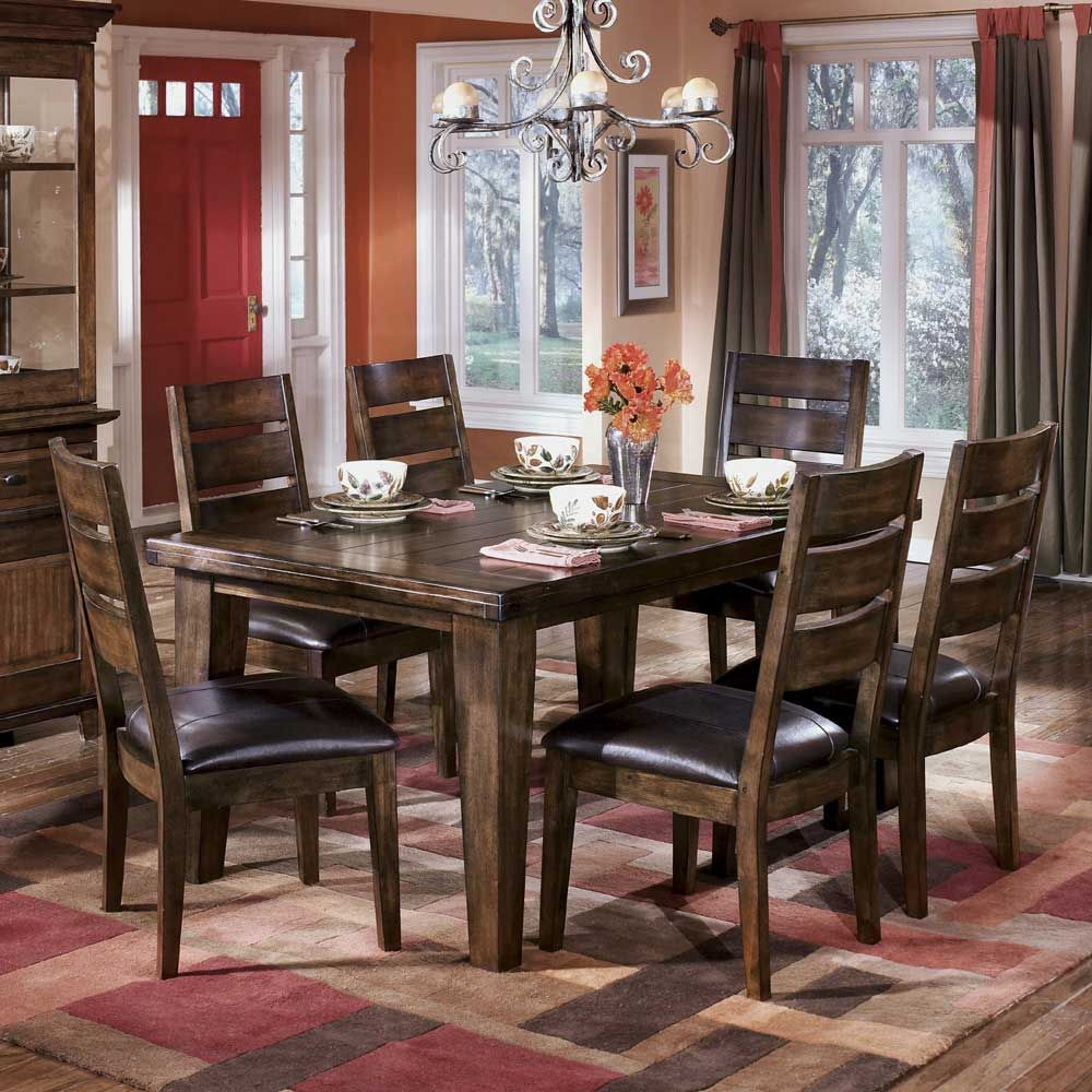 Larchmont dining table with 6 side chairs by signature for Ashley furniture dining room sets design