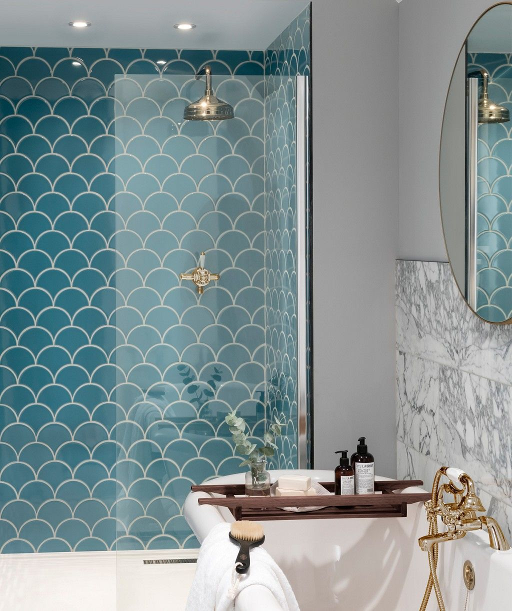 Syren™ Nordic Blue Mermaid Scale Tile | Topps Tiles | my home ...