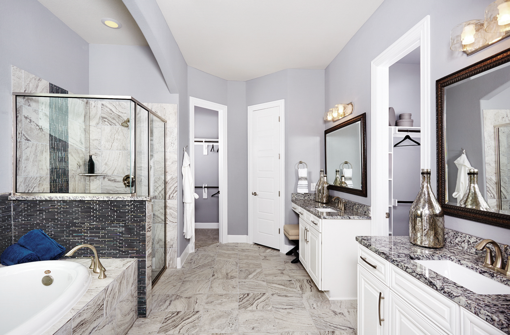 Gehan homes master bathroom gray wall granite for Master bathroom expansion