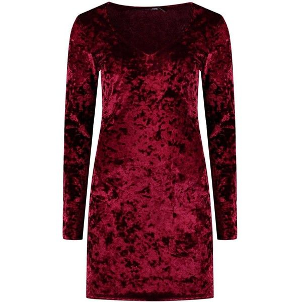 Boohoo Sadie Crushed Velvet Plunge Bodycon Dress   Boohoo (79.690 COP) ❤ liked on Polyvore featuring dresses, plunge bodycon dress, body conscious dress, body con dress, red dress and red plunge dress
