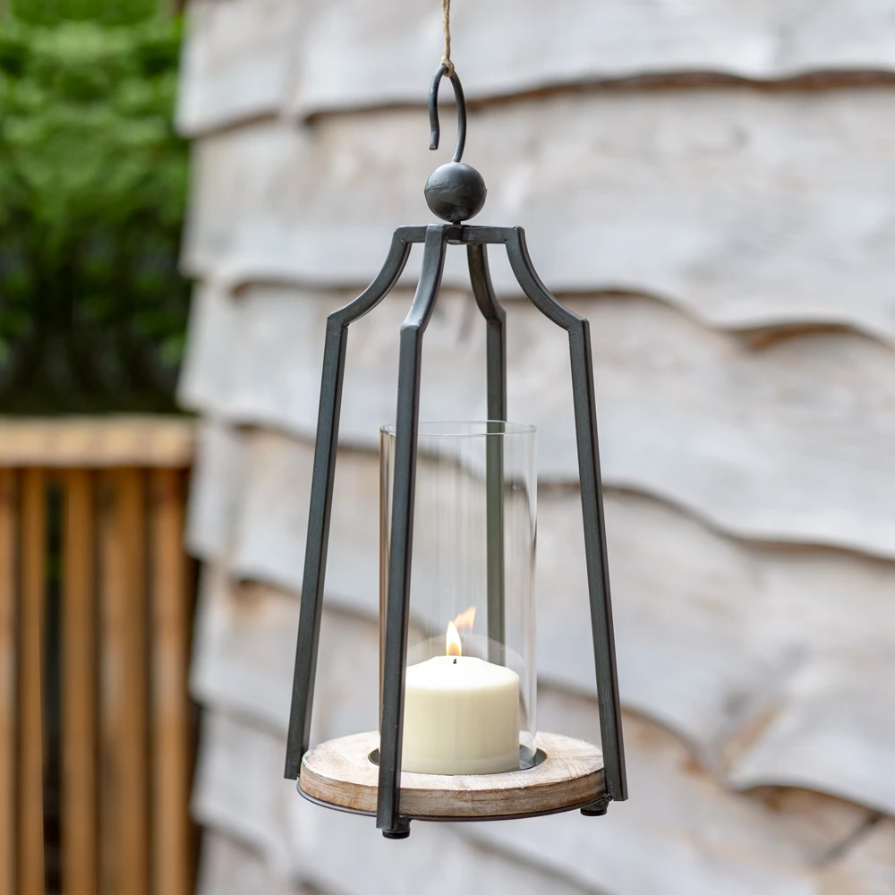 Hanging Metal And Glass Candle Lantern In 2020 Candle Lanterns Farmhouse Candles Hanging Candle Lanterns