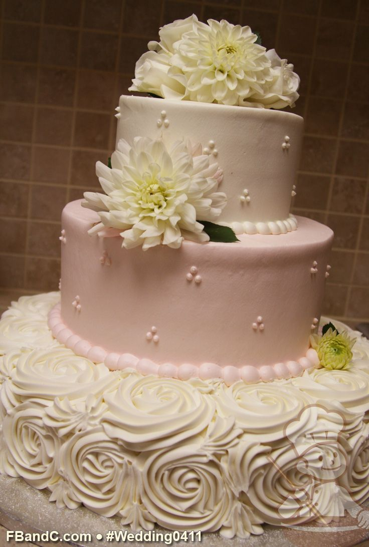 Buttercream Rose Swirls On The Bottom Tier Of This Wedding Cake A Great Edible Alternative To Fondant Pattern