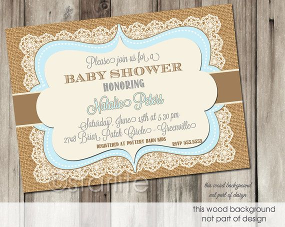 Vintage Baby Showers ~ Blue brown vintage lace burlap baby shower invitation 5x7 baby