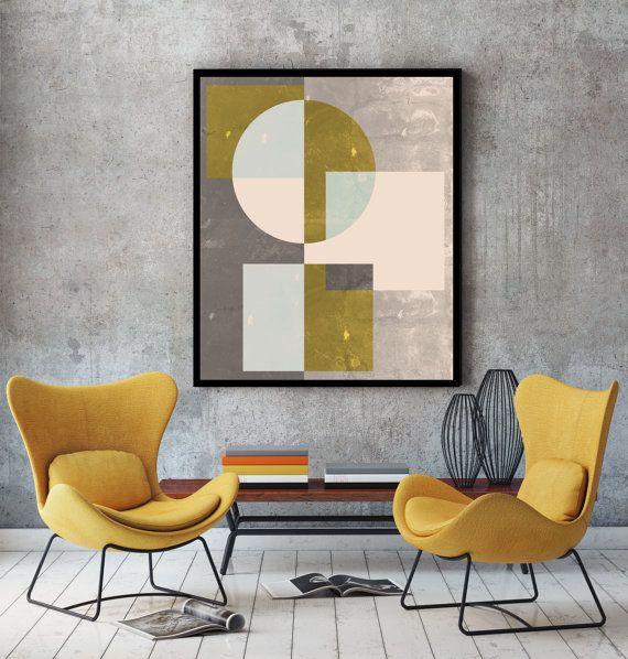 Mid century wall art, print, geometric art, abstract art, mid ...