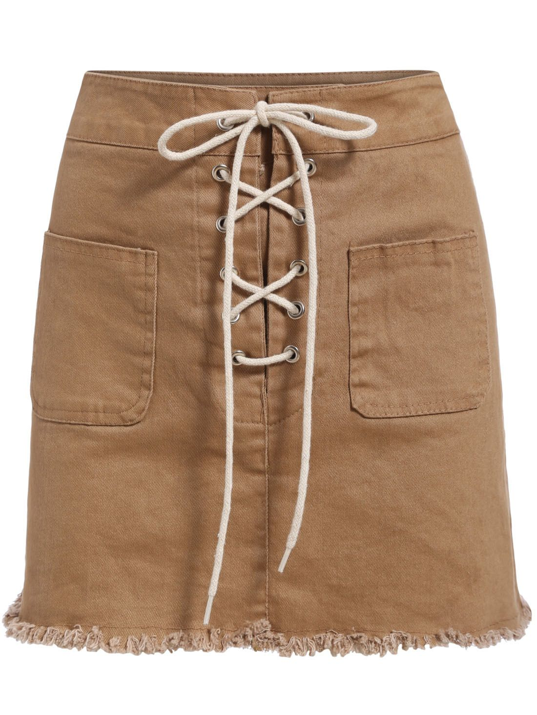 Shop Khaki Bandage Fringe Denim Skirt online. SheIn offers Khaki Bandage Fringe Denim Skirt & more to fit your fashionable needs.