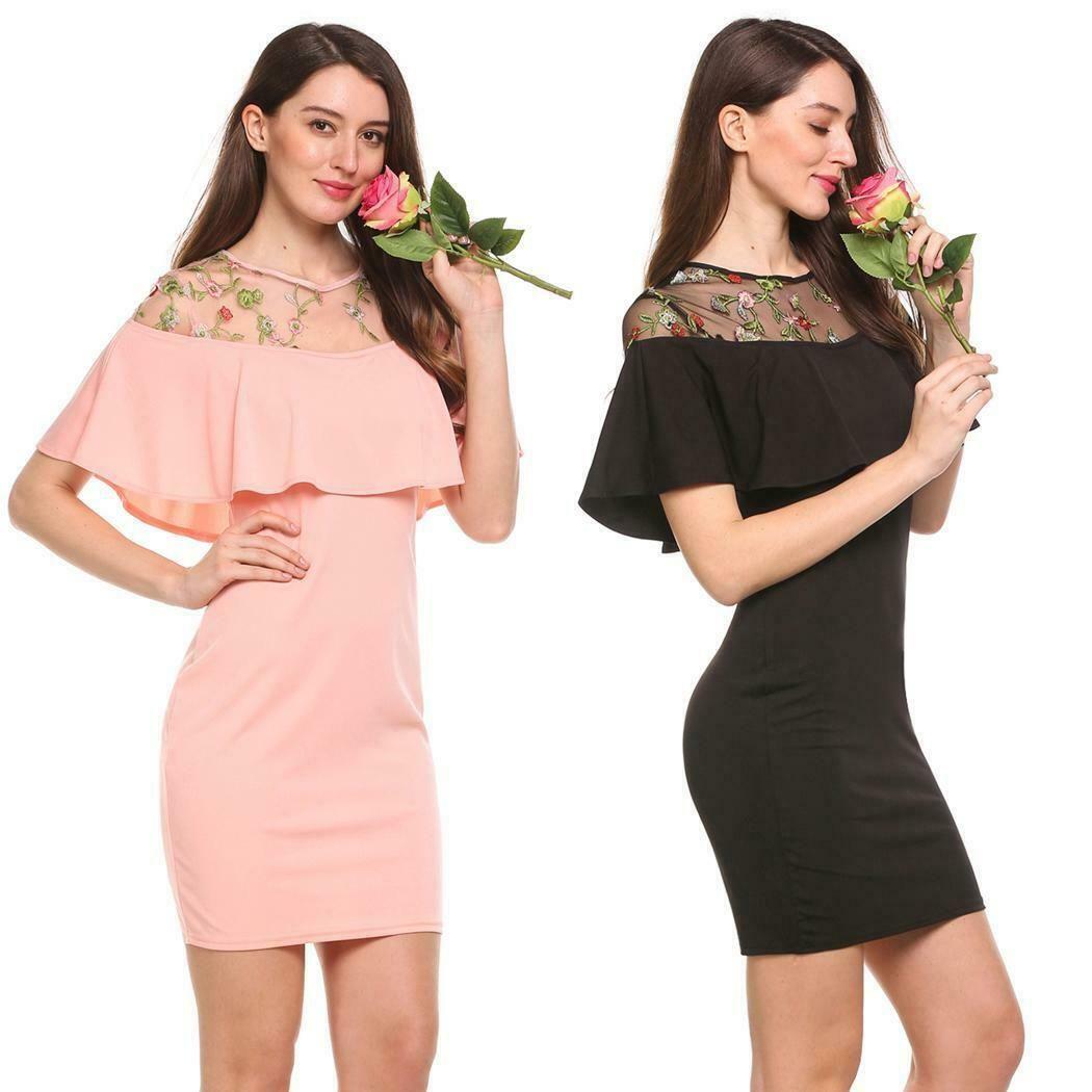 Frauen leger Kurzarm Floral bestickter Patchwork-Kleid GRHA 10