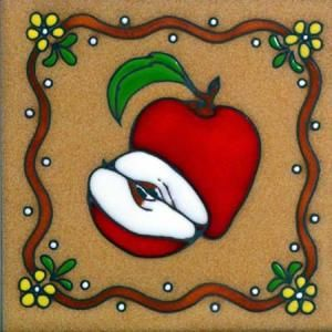 Hand Painted Decorative Ceramic Picture Tiles Adorable Apple Fruit Teissedre Hand Painted Decorative Ceramic Tile Trivet Design Ideas