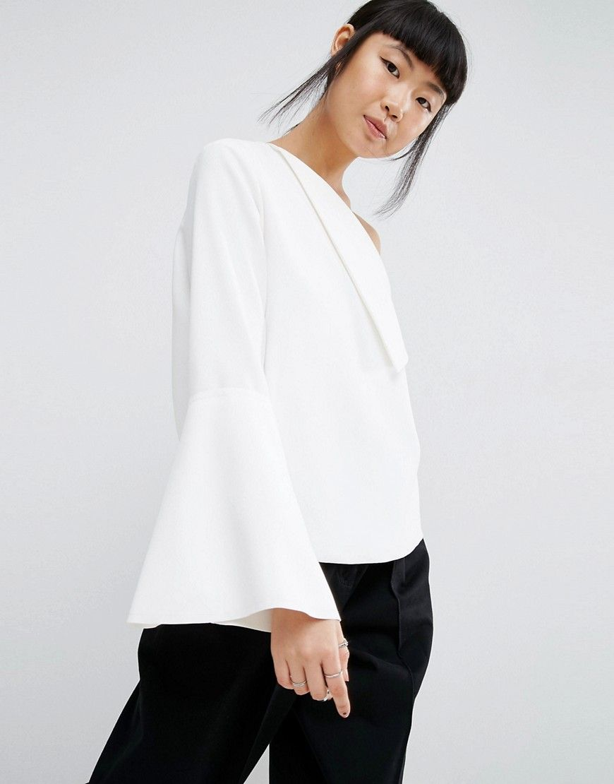 4ca73792a60 ASOS WHITE Foldover Detail Top With Wide Sleeve - White