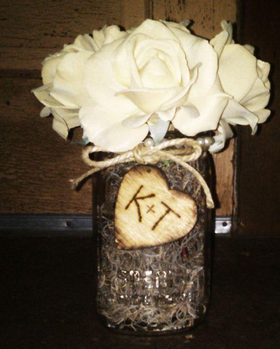 Cute Wedding Centerpiece Ideas: Mason Jar Personalized Centerpiece