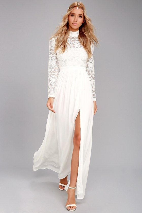 White Long Sleeve Fitted Maxi Dresses