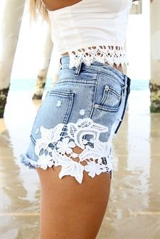 Add lace to denim - Shown: Blue Denum Fortune Shorts $58.00 - http://SaboSkirt.com    (04.26.14)