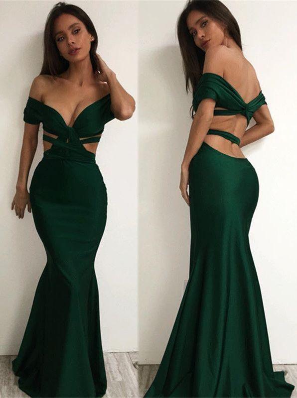 sexy offtheshoulder prom dresses dark green cutaway