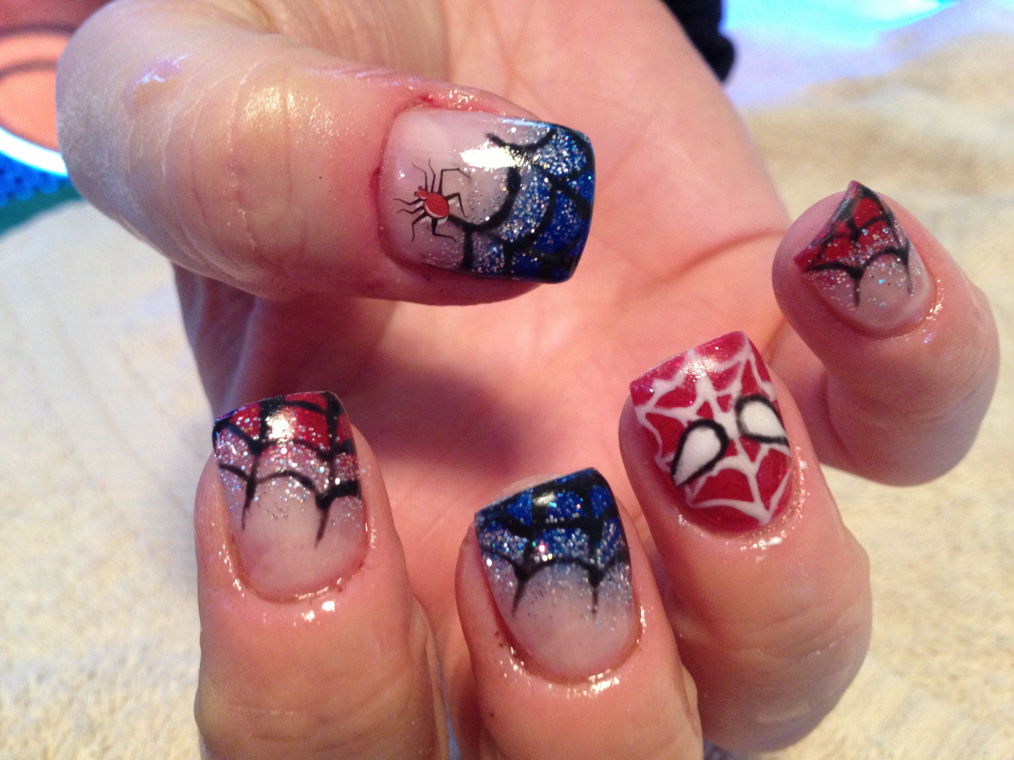 Spider man nails my work pinterest spider man nail nail and spider man nails prinsesfo Choice Image