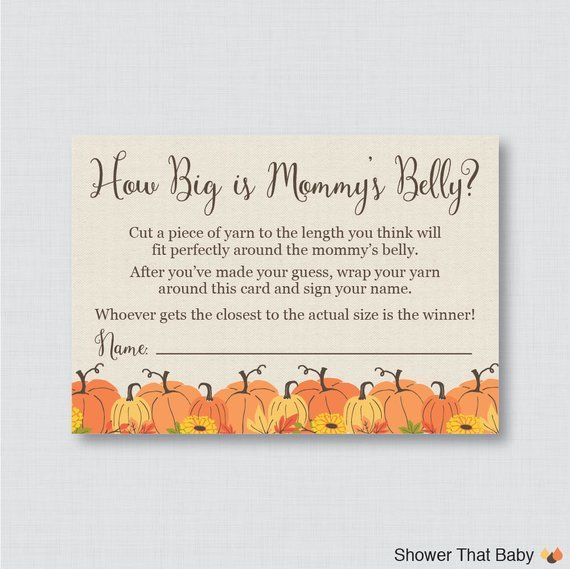 Pumpkin Baby Shower How Big Is Mommy's Belly Game - Printable Baby Shower Belly Guessing Game, Guess Belly Size - Fall Little Pumpin - 0032