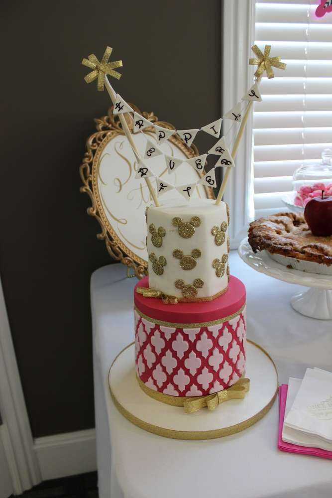 pretty cake at a disney bridal shower party see more party planning ideas at catchmypartycom