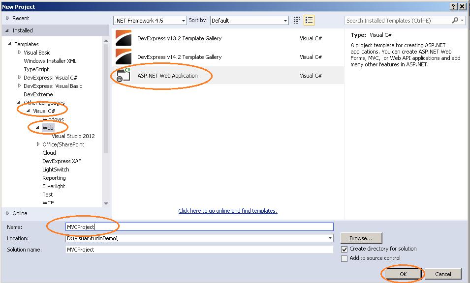 Create ASP.NET MVC Application   Net framework ...