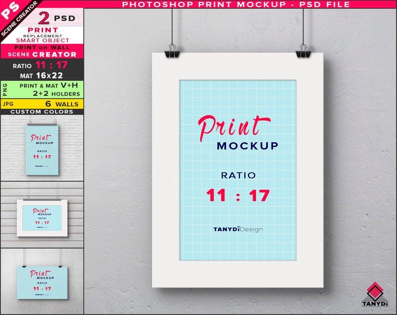 11x17 Poster On Wall Photoshop Print Mockup Vertical Etsy Poster Wall Poster On Print Mockup